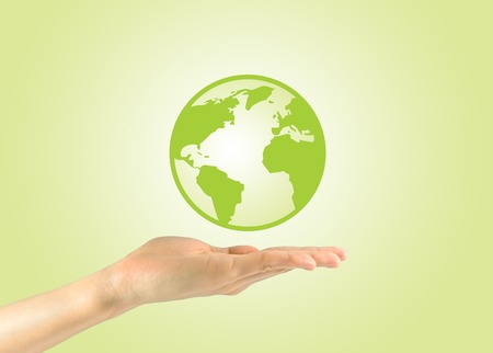 house of god: Concept of environmental preservation. Planet earth in the hand of man