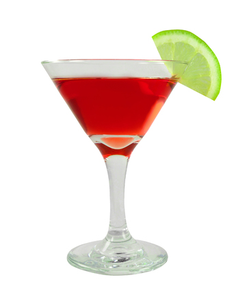 Bacardi cocktail in a glass with lime. Design element isolated on white background