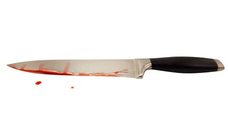 bloodied: Concept of crime and murder. Bloodied large knife. Isolated on white background