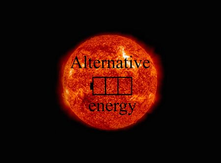 nasa: Concept of alternative solar energy. The symbol of the battery charged at the background of the sun. NASA