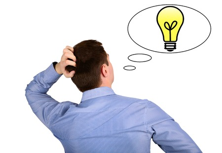 lit lamp: Thoughts and ideas of the business man and the sign lit lamp. concept ideas Stock Photo