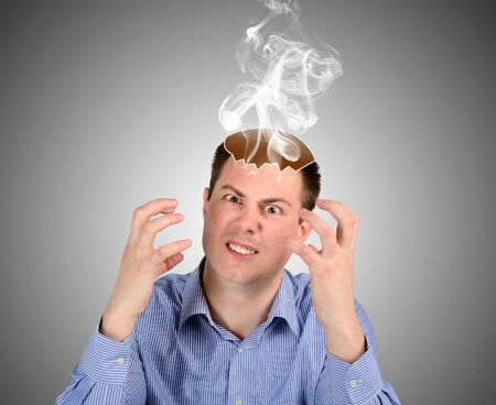 evil man: An evil man produces steam over your head. The concept of emotions and feelings Stock Photo