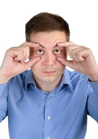 sleepy man: Concept of lack of sleep. Sleepy man with sleepy eyes