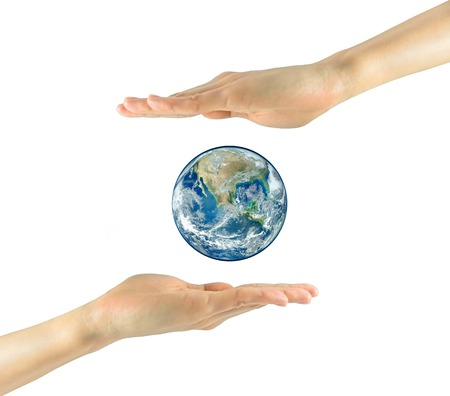 nasa: Concept of tourism, religion and ecology. Planet earth in the hands isolated on white background. NASA