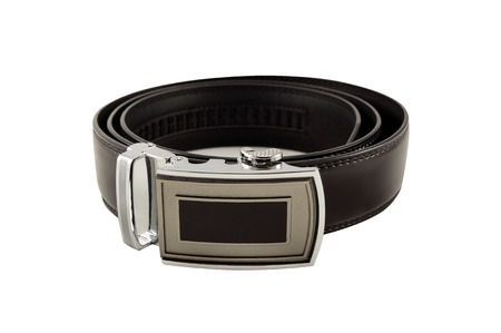 buckle: Mens leather belt with a buckle. Isolated on white background