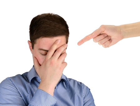 reprimand: A man experiencing shame and stress. The concept of emotions and feelings