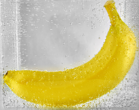Ripe banana in the water. design element