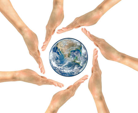 protection hands: Concept of environmental protection. Planet earth in the center of the circle of human hands NASA