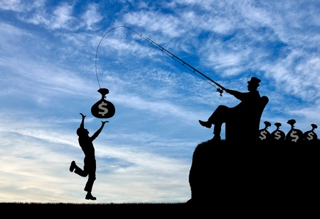 socioeconomic: Social inequality. Wealthy businessman with a fishing rod and money and common man