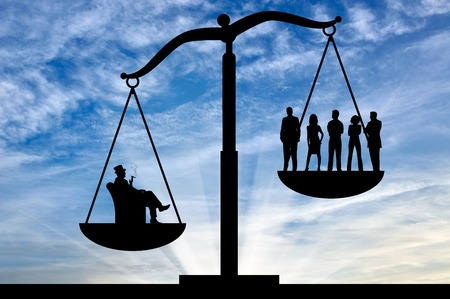 Social inequality . Social inequality on the scales of justice between the rich and ordinary people Stock Photo