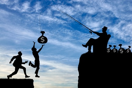 socioeconomic: Competition and greed. People are running after money, falling into the abyss Stock Photo