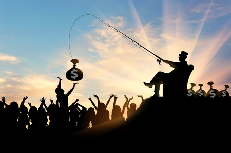 socioeconomic: Social inequality. Wealthy businessman and a crowd of people trying to catch the money