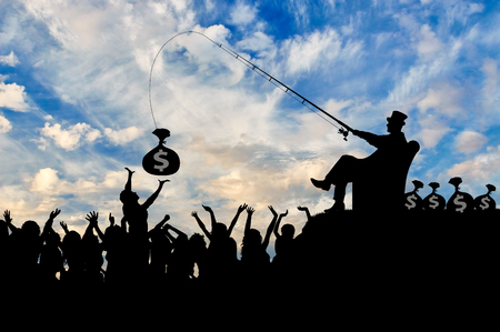 inequality: Social inequality. Wealthy businessman and a crowd of people trying to catch the money