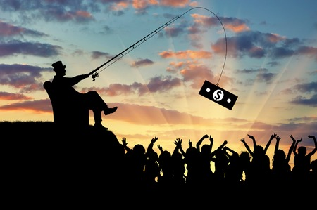 Social inequality. Wealthy businessman and a crowd of people trying to catch the money
