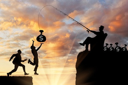 Competition and greed. People are running after money, rich man, falling into the abyss