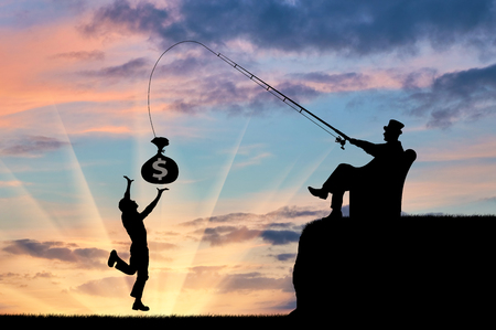 Social inequality. Wealthy businessman with a fishing rod and money and common man