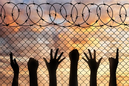illegals: Refugees hands silhouette near the fence of barbed wire. refugee concept Stock Photo