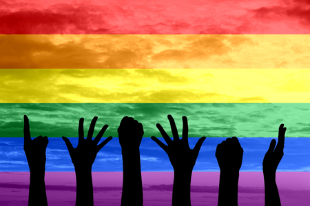 rainbow flag: Silhouette of hands of people the gay parade and the LGBT movement on the background of rainbow flag
