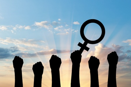 dominance: Silhouette of hand movements feminists holding the symbol of Venus mirror. feminist concept Stock Photo