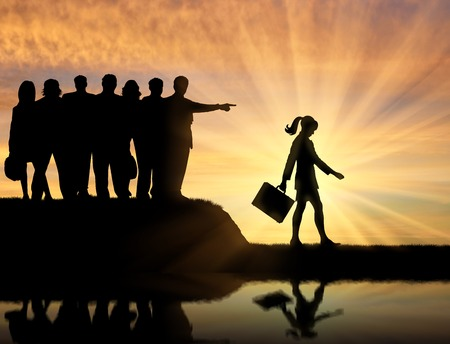 slander: Discrimination concept. Silhouettes of people crowd woman expelled from their society. Stock Photo