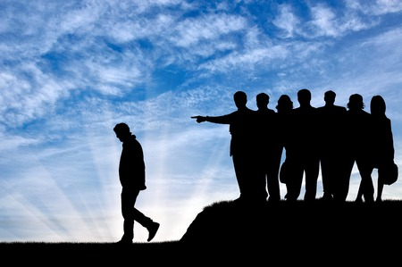slander: Discrimination concept. Silhouettes of people crowd expel the man from their community.