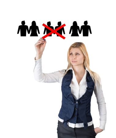 oppression: Discrimination against gay rights. A woman crosses out icons of gay couples Stock Photo