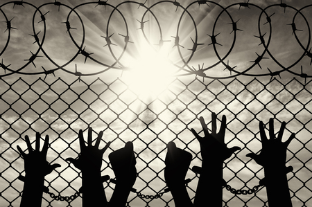 hostages: Silhouette of a crowd of hands in handcuffs near the fence with barbed wire