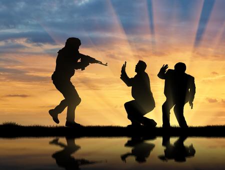 hostages: Terrorism concept. The terrorist attack on civilians Stock Photo