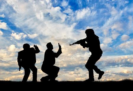 hostages: Terrorism concept. Terrorist attack on civilians