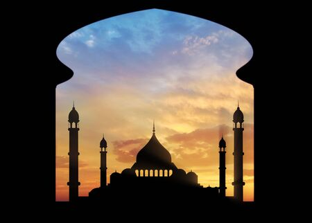 places of worship: Islamic places of worship and prayer. View of the building of the mosque from another building