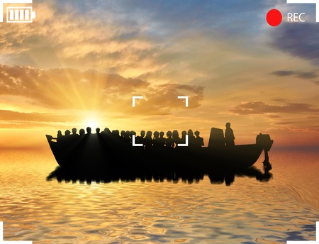 refugees: Refugees concept. Ferry boat with refugees. View from the camcorder Stock Photo