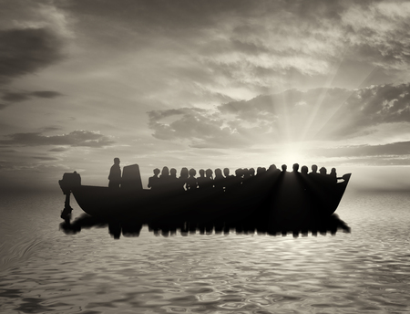 refugees: Refugees concept. Boat with refugees at sea