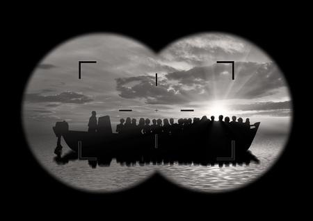 poverty relief: Refugees concept. View from the binoculars on a boat with refugees at sea