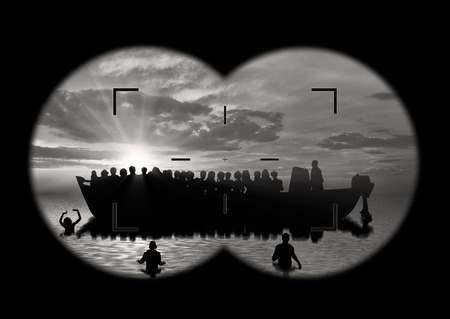 poverty relief: Refugees concept. Refugees swim to shore against the backdrop of the boat. The view from the binoculars Stock Photo