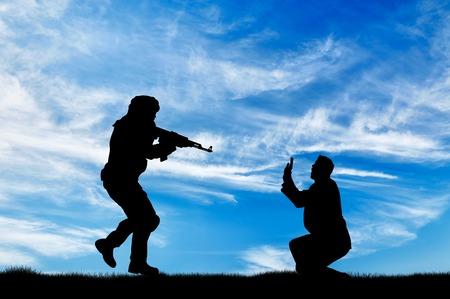 Terrorism concept. Terrorist attack on peaceful human