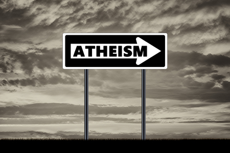 atheism: Atheism. Traffic sign shows the direction to atheism