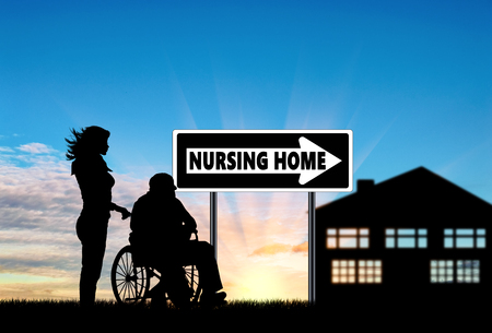 home care nurse: Silhouette of a nurse caring for an elderly man in a wheelchair. Concept of caring for a disabled person and house of aged