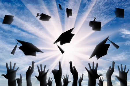 alumni: Hands throwing graduate cap in sky in day. concept of education