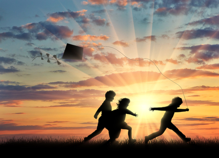 oncept: ?hildren playing in the street with a kite . ?oncept childhood and friendship