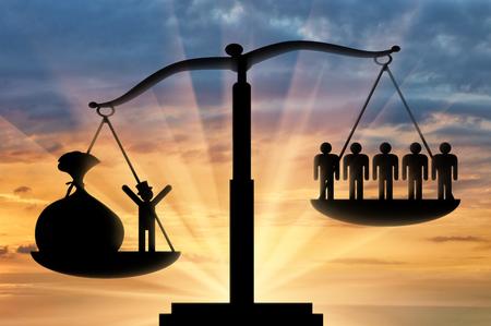 Poder ricos sobre pobres conceito escravidão, sócio-económico. Conceito sócio desigualdades e econômicos pessoas Banco de Imagens