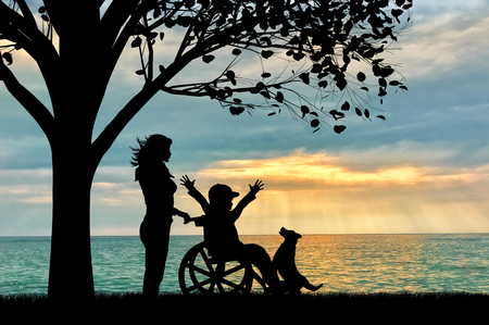 dog wheelchair: Happy boy in wheelchair and nurse sea under tree and dog sunset. Happy disabled child concept Stock Photo