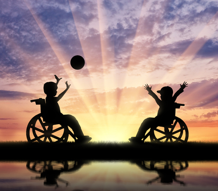 Happy children with disabilities play ball and reflection in river. Concept happy children disabilities
