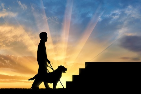 Blind disabled person with cane and dog guide stand under stairs sunset. Concept help blind disabilities