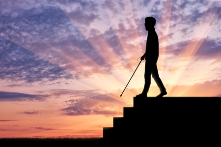 dependence: Blind man disabled with cane stay on top step. Concept help blind disabilities