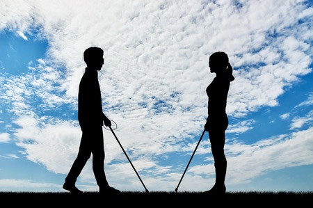 Blind men and women with disabilities with cane walking on street day. Concept help blind people with disabilities