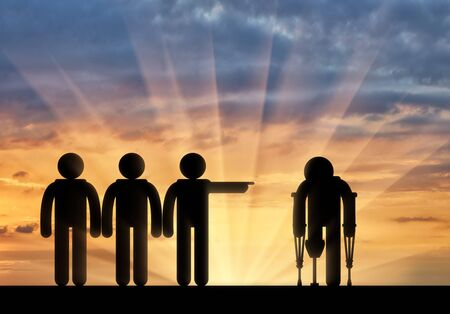 rejection: Icon is disabled on crutches with prosthesis and people chase him sunset. Concept disabled