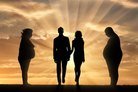 indecisive: Thick man with woman and thin pair on hill on background sunset. Concept obesity