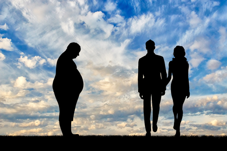 indecisive: Fat man and thin young couple standing on background sky. Concept obesity