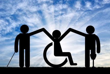 Disabled person society to hold hands on background sky. Concept disabled persons