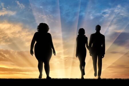 indecisive: Fat woman and young thin couple standing on sunset background. Concept obesity Stock Photo